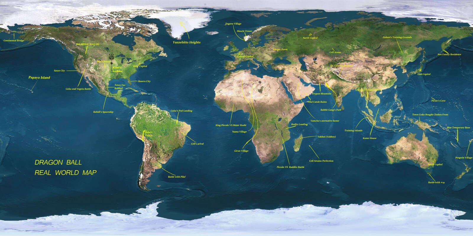 vị trí địa lý trong dragon ball